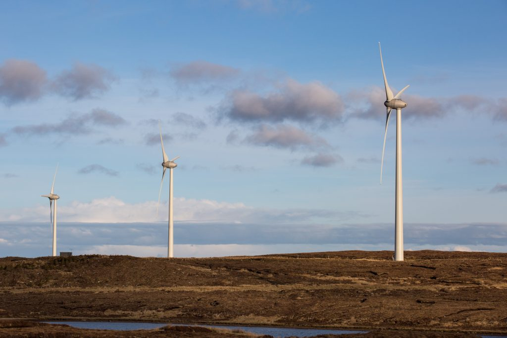 Beinn Ghrideag wind farm turbines
