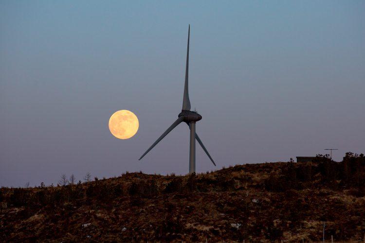 Full moon at Beinn Ghrideag Community Wind Farm